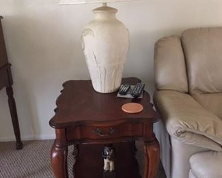 Matching end table for living room (also available matching coffee table) shown with Kame lamp ( one of set of two) on top