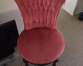 Gorgeous Pink velour upholstered antique chairs- excellent condition- set of two