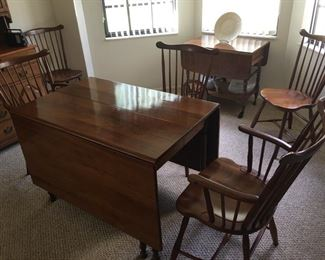Stickley Cherry Drop Leaf Dining table set and matching wine cart in background pictured