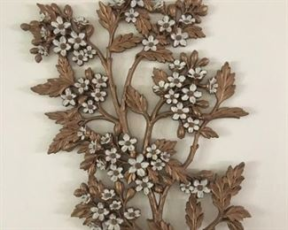 Syroco Gold and white flower 70's wall hanging