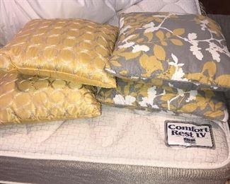 Throw pillows on king size mattress set