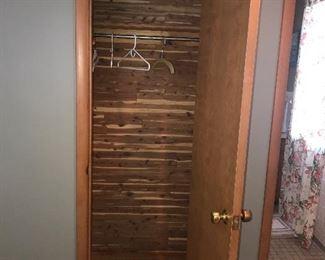Cedar lining, many interior doors