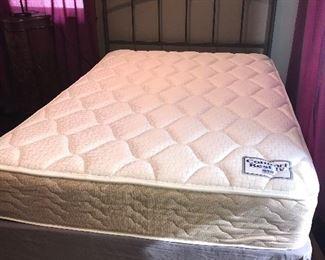 Full size mattress, metal headboard and frame