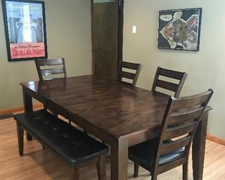 6pc Dining Set Table 4 Side Chairs & Bench