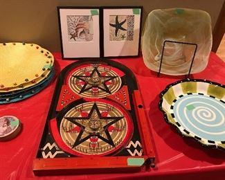 Antique metal tabletop pinball game, glass decorative bowl and various art
