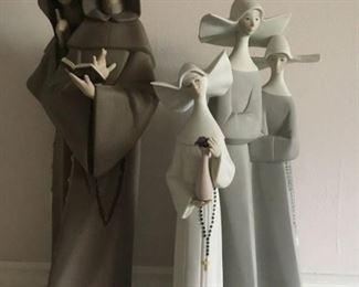 Vintage  Retired LLADRO Matte Figurines. Monks at Prayer No. 5155 (Gres finish),  Serene Moment No. 5550 (Matt White finish - has neck repair), Nuns No. 2075 (Gres finish).