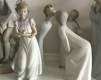 Vintage  Retired LLADRO Matte Figurines. Happy Birthday Girl No. 5429, Boy Kissing No.4869, Girl Kissing No. 4873, Girl with Hands on Hips No. 4872.