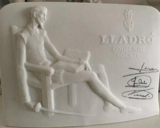 Vintage  Retired LLADRO Matte Plaque. 1985 Porcelain Collectors Society Don Quixote Signed Plaque.