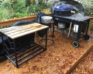 Weber Grill with Rotisserie and Rolling Cart, Outdoor Fyer, Outdoor Side Table.