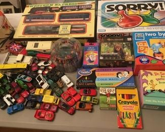 Children's Board Games, Books, Cars, Trains, Crayons