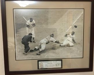 Jackie Robinson Steals Home Base Picture and 1952 Game Ticket