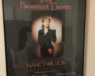 Signed Nancy Wilson Poster - New Years Eve at the Paramount Theatre Seattle