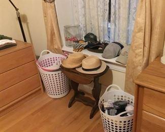 Small Antique Drop Leaf Table, Men's Hats, Gloves, Clothes Baskets