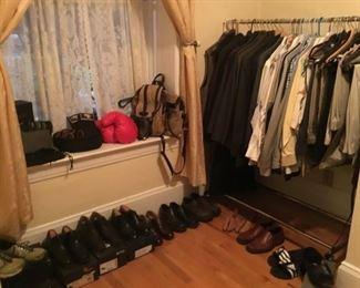 Men's Clothing (Suits, Suit Jackets, Slacks, Dress Shirts, Ties, Belts, Shoulder Bags, Shoes (size 9.5M and 10M). Brands Cole Haan, Ecco, Allen, Adidas )