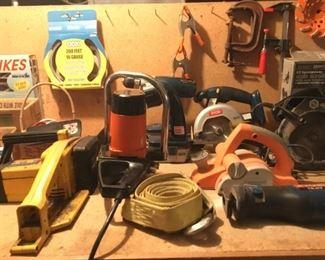 McCulloch Electramac Chain Saw, Craftsman Chain Saw,  Ryobi Swivel Head Flashlight, Ryobi Drill, Ryobi Circular Saw, Chicago Belt Sander, Ryobi Reciprocating Saw.