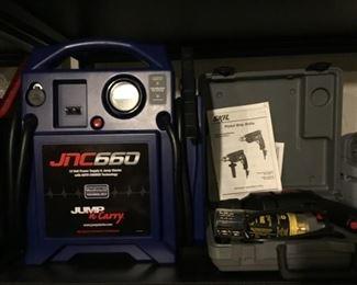 JNC 12 Volt Power Supply and Jump Starter Charger, Skil Pistol Grip Drill.