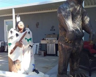 Life-size cement bear, Native American w/solar light, propane grill