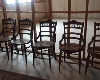 Set of 6 victorian walnut, cane bottom dining chairs.
