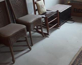Set of 2 wicker chairs, vintage rocker.