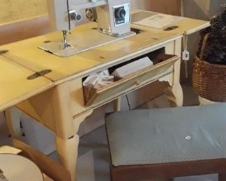Signature, Zig Zag sewing machine, in french provincial cabinet.