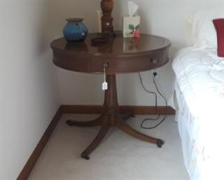 Drum Table.  Various lamps and home decor.