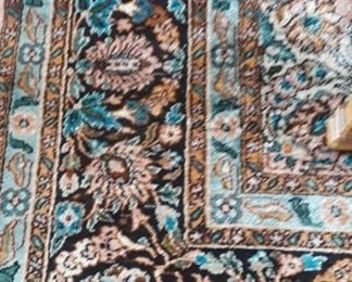 Silk area rug, India.