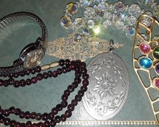 Aurora beads, Timex Watch.