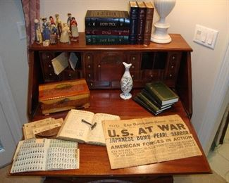1998 Sweet Water Press Books, December 7, 1941 WAR Newspaper, WW2 Rations Books with Holder, Corn Husk Dolls