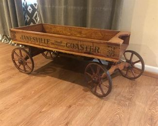 Antique early 1900s Janesville wooden wagon with metal wheels