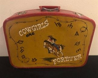 "Vintage Suitcase with ""Cowgirls Are Forever"" Painting"