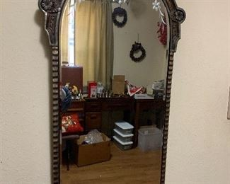 Antique wall mirror with etched detail
