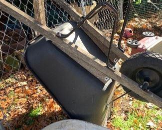 Plastic and wood wheelbarrow