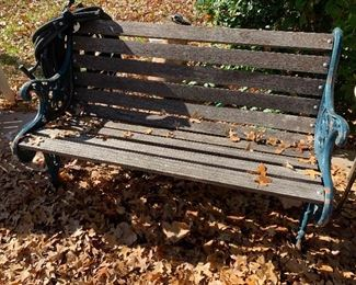 Metal and wood park bench