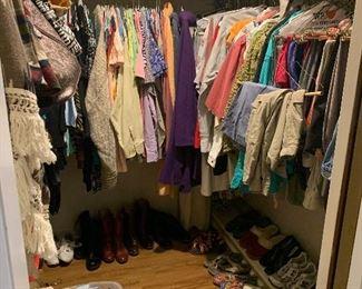 Assortment  of ladies clothing, shoes, jackets, handbags, belts