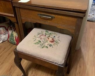 Vintage stool with needlework top