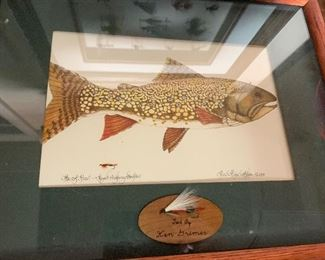 Hand tied fly fishing fly framed in 3-D shadow box frame