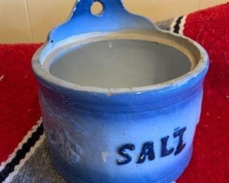 Antique pottery salt container