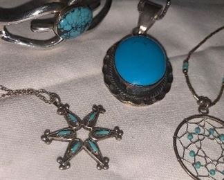 Southwestern turquoise and Sterling Silver Jewelry. Navajo Bracelet is hallmarked  Wilson Begay
