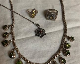Heavy sterling silver necklace with green stones