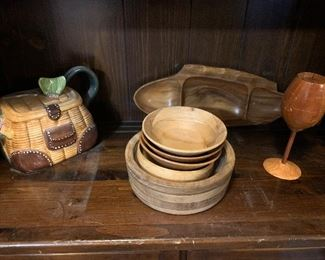Handcrafted wine glass shaped wooden puzzle, wooden bowls, fishing themed tea pot