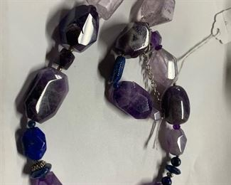Barse sterling, amethyst, and lapis lazuli necklace