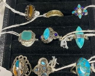 Sterling silver jewelry with turquoise, lapis, and more