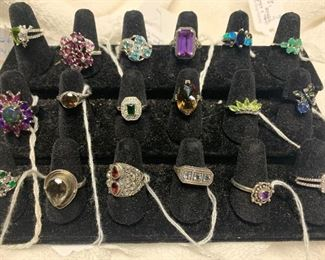 Sterling silver rings with rubies, topaz, sapphires, garnet, amethyst, peridot, emeralds, and more