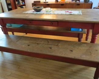 painted red farm house table with 2 benches