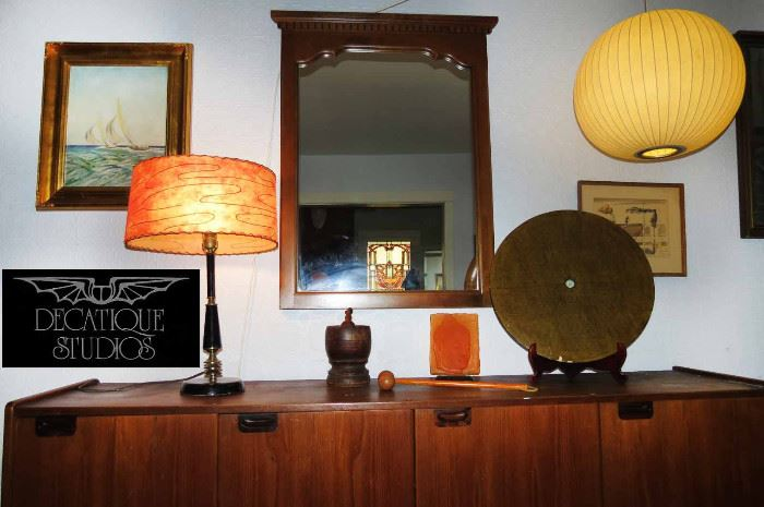 Nelson Ball Bubble Pendant for Herman Miller.. MCM Table Lamp with fiberglass shade..MCM Credenza/Console..