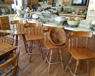 4 matching bar stools, large beautiful wooden salad bowl with 2 serving utensils