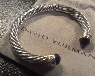 David Yurman 7mm Diamonds Onyx Sterling cable cuff w pouch