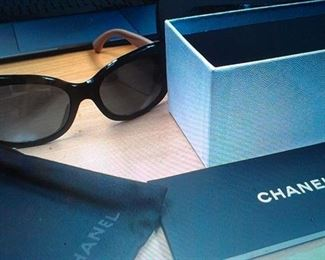 Chanel sunglasses(black & tan, logo on sides) w hard carry case, felt pouch, orig. box +pamphet