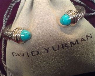David Yurman 7mm turquoise 14K Y Gold Sterling cable cuff w pouch