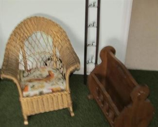 Child wicker rocker, antique coat rack